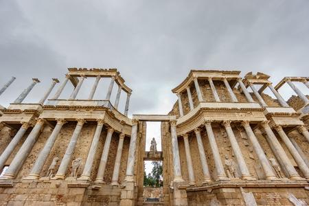 The Roman Theatre proscenium in Merida, ultra wide view
