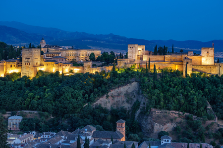 Ancient arabic fortress of Alhambra at sunset. Granada, Spain.