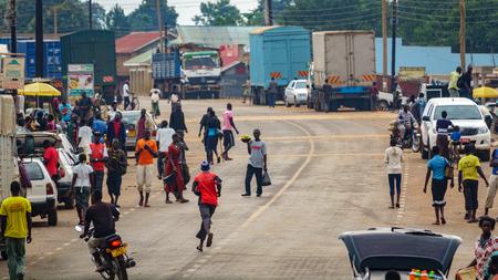 Walkind along road in Africa