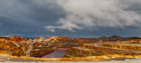 Rio Tinto mine on stormy day, wide angle Stock Photo