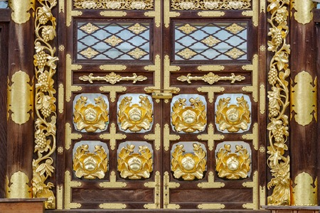 Wooden and golden door