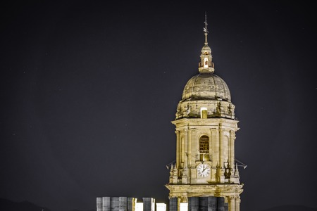 Malaga Cathedral tower by night
