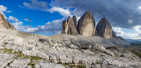 Tre Cime di Lavaredo rocks big panorama at sunset Stock Photo