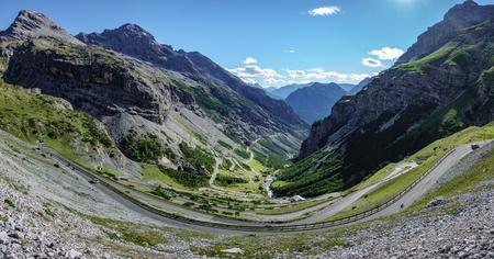 View of serpentine road of Stelvio Pass, Bormio side