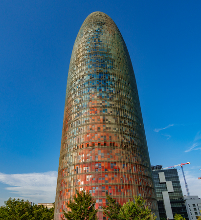 BARCELONA, SPAIN - JULY 11, 2017 - Impressive multi colored Agbar tower in Barcelona, Spain Editorial