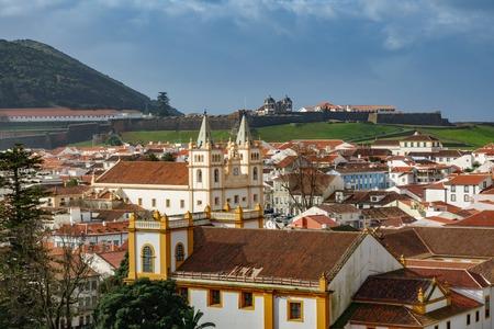 Angra do Heroismo roofs in Azores islands Stock Photo