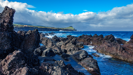 Biscoitos and volcanic rocs in Terceira, azores in wide angle