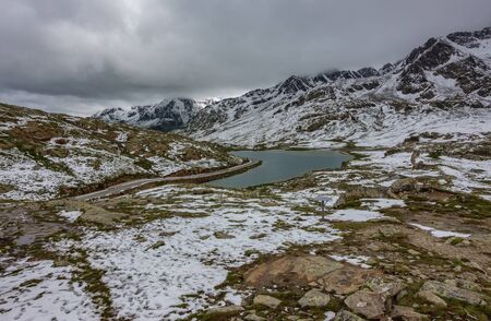 Gavia pass lake in summer Stock Photo