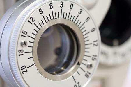 depth measurement: Ophthalmology machine closeup for checking eye Stock Photo