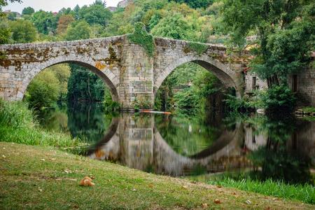River and medieval bridge in Allariz, Orense, Spain