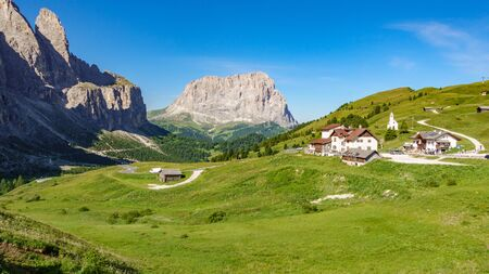 Picturesque sella rock from gardena pass in Dolomites, Italy