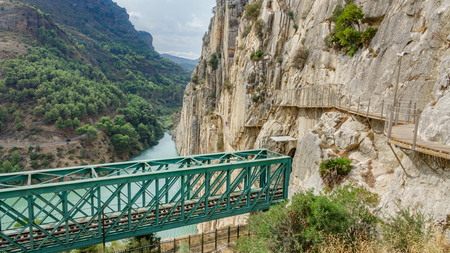 The ending of El Caminito del Rey (Kings Little Path) footpath, with train iron bridge in Malaga, Spain Stock Photo