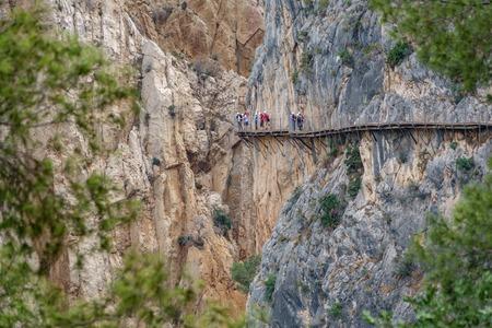 El Caminito del Rey footpath with tourists n2 Stok Fotoğraf