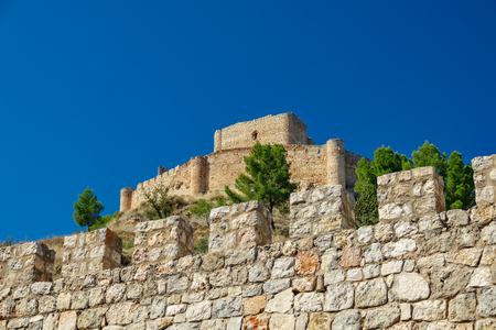 Jalance castle bottom view with walls Stock Photo