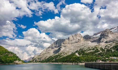 Lago di Fedaia dam, Dolomites Stock Photo
