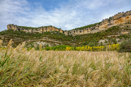 Autunm landscape in Cuenca with rock formations, wide angle