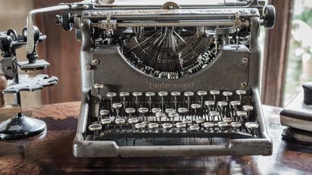 MAJORCA, SPAIN - DECEMBER 7, 2015: Ancient model of the Underwood Typewriter