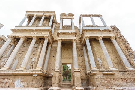 The Roman Theatre proscenium bottom perspective in Merida