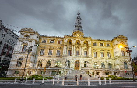 Bilbao city council at dusk with cloudy sky Stock Photo