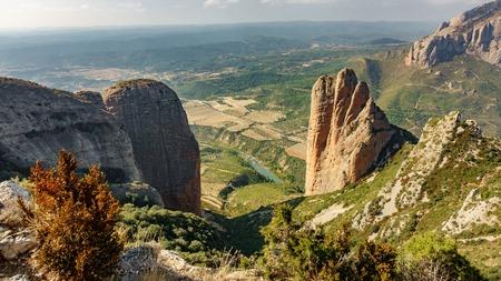 Riglos Mallets vista dall'alto in Aragona Archivio Fotografico