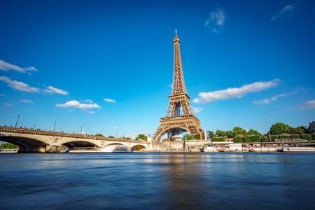 Eiffel tower and Seine river long exposure Stock Photo