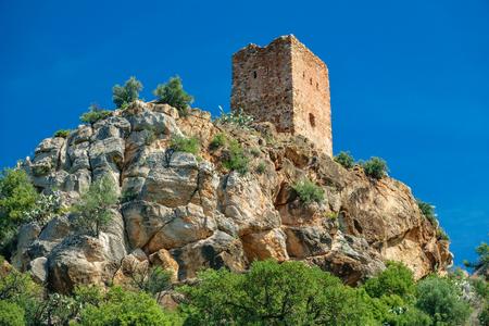 Almenara village tower on top of the hill Stock Photo