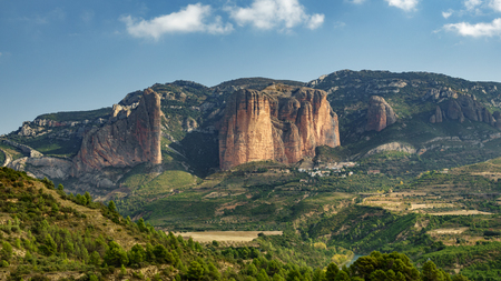 Whole Riglos Mallets, rocks and town 写真素材