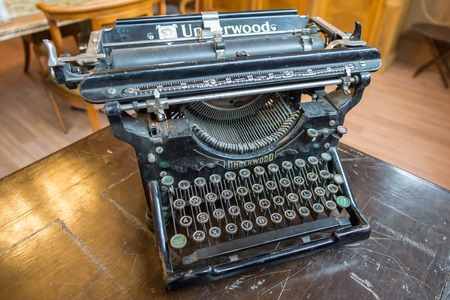 MAJORCA, SPAIN - DECEMBER 7, 2015: Ancient model of the Underwood Typewriter
