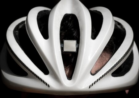 Bicycle helmet front view closeup Stock Photo