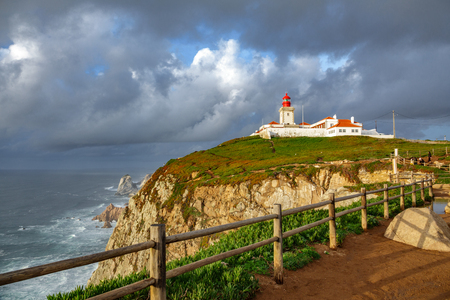 Wide angle of Cabo da Roca Lighthouse, the end of Europe
