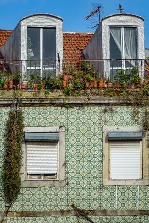 Vintage tile facade in Lisbon