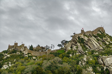 Castle of moors worms eye view view in Sintra, Portugal Stock Photo