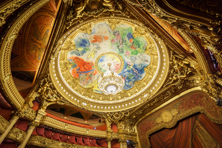 PARIS, France, MAY 17: The colorful roof in the interior of Opera de Paris, Palais Garnier, It was built from 1861 to 1875 on MAY 17, 2015 in Paris.