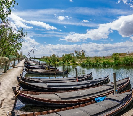 Albufera nature reserve with wooden fishing boats and pier in Catarroja, Valencia