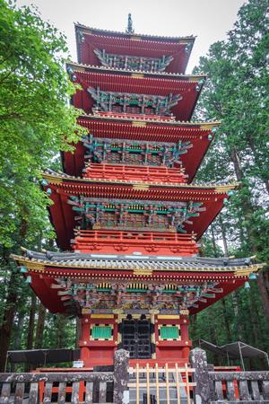 Japanese pagoda in Nikko, bottom view