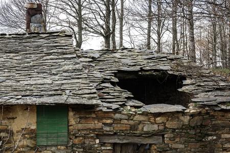 Ruined slate roof hole Stok Fotoğraf