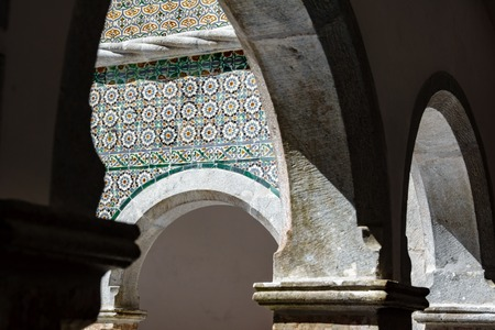 Vintage colorful tile wall and arches