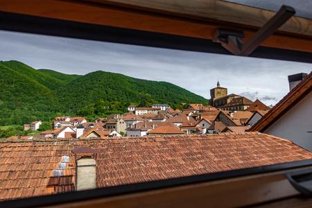 Old town through dormer window