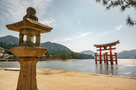 Miyajima floating Torii gate, high tide long exposure with lantern