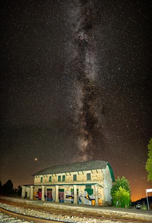 Night shot of abandoned building