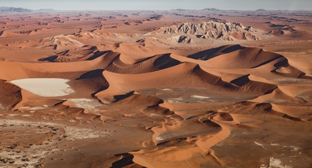 Namib desert aerial view with dunes and sand