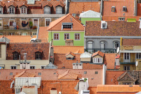 Lisbon roofs long shot view with different colors Stok Fotoğraf