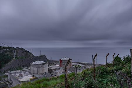 Long exposure nuclear plant in Lemoniz, Vizcaya Stok Fotoğraf