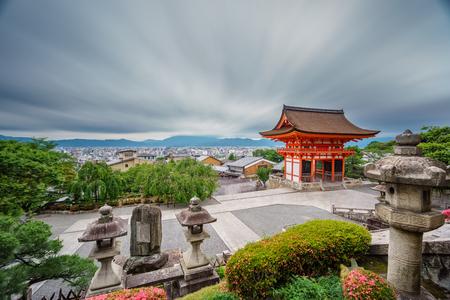 Kiyomizu-Dera temple at dusk with cloudy sky, ultra long exposure