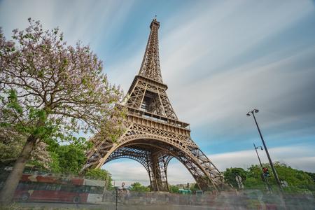 Eiffel tower bottom view ultra long exposure