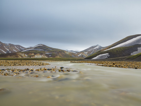 Landmannalaugar unbelievable landscape with stream, Iceland Stock Photo