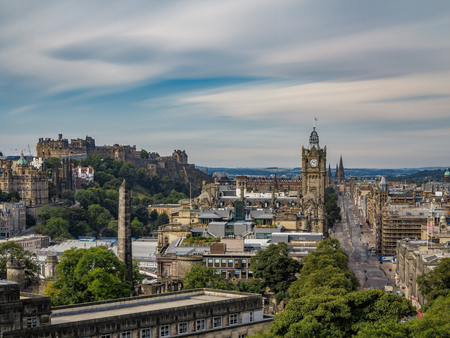 View of the Edinburgh downtown from Calton Hill ultra long exposure