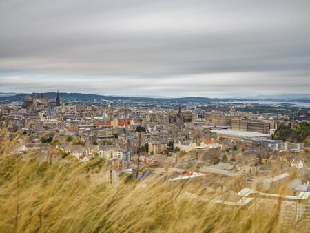 Top view of Edinburgh skyline, long exposure