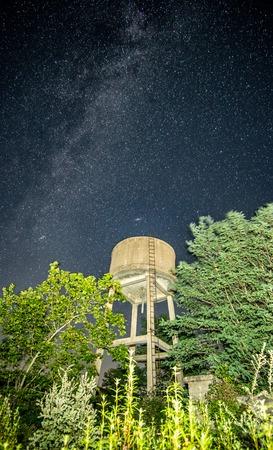 Water tank against milky way, night shot