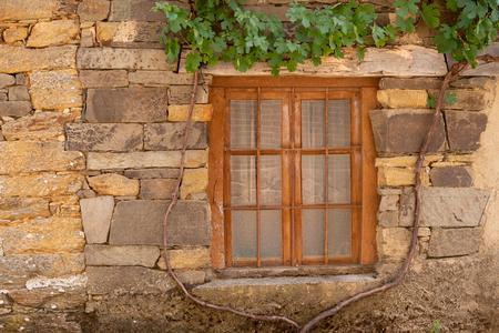 Wooden window in stone facade with vine arbor